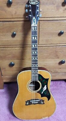 Vintage 1970's Cameo Deluxe Acoustic Guitar Pearl Inlays Dove Guard Need Work