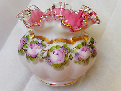 Beautiful Vintage Hand Painted Fenton Glass Bowl Vase
