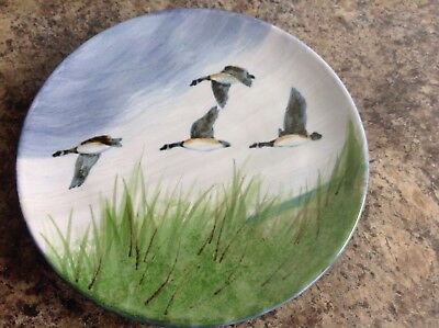 Highland stoneware Scotland hand painted flying geese plate