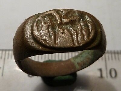 2364Ancient Roman bronze signet ring with a stamp - emperor on a horse, right 1