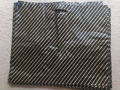 Carrier bags x 26 large plastic black & gold striped gift bag brand new job lot