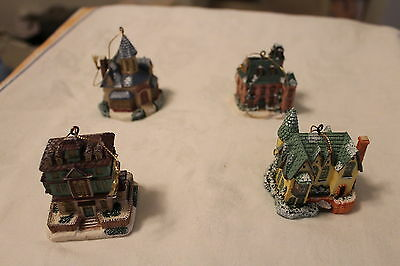 Lot 5 Victorian House Mansion Ornaments from Biltmore Hotel Resin
