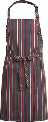 Chef Works Mens Striped Bib Apron, Grey, Charcoal And Red Stripe, 34-Inch Length