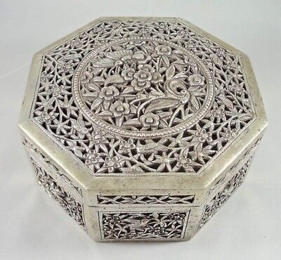 Antique Vintage .900 Silver Reticulated Box Birds Indian Colonial? East Asian?