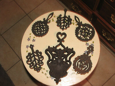 Antique Cast Iron Trivets cooking displaying lot
