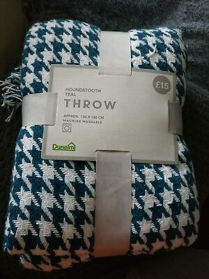 Lovely Modern Dunelm Throw white/teal 130x180cm Brand New with tags