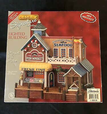 Lemax Village - Plymouth Fish Market - 75561 Lighted Building Wbx Mint