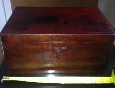 Antique Wooden Box ( & a Rolled Up Sketch By Lucy Dawson)