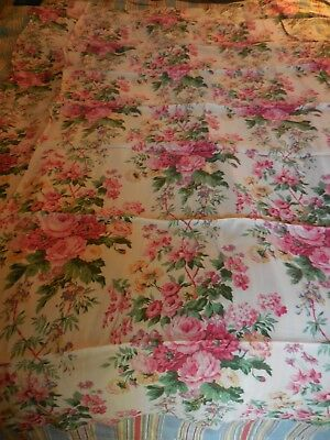 Vintage Fabric Teal ROSES Shabby Cottage Rayon upholstery drapery remnant