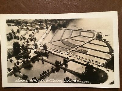 Aerial of Fish Hatchery on Lake Wawasee near Syracuse in Indiana post card