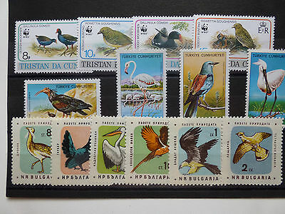 Vögel Birds, Three full sets, Tristan Turkey Bulgaria, ** mnh, read