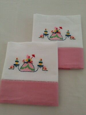 "Sweet Vintage Pr. of  Hand Embroidered ""Belle""Pillowcases"