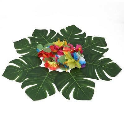 Durable Hawaiian Party Decoration Simulated Artificial Leaves Flowers D