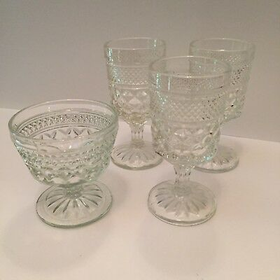 """Anchor Hocking Wexford 1 Sherbet Dish And 3 Wine Or Water Goblets 5 3/4"""" Vintage"""