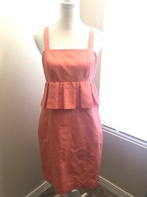 $160 J. Crew Peplum Dress. Coral Size 4. Style G6482. New With Tags!