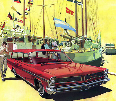1963 Pontiac Bonneville Safari station wagon, Red, Refrigerator Magnet 40 Mil