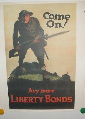Original WW1 Poster Rare Vintage Come On! Buy More Liberty Bonds 1918