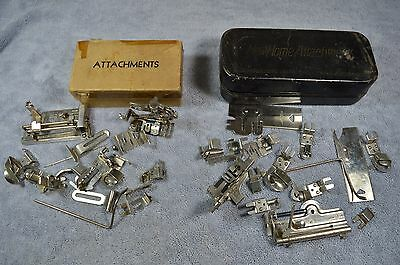 Large Lot of Vintage Sewing Machine Attachments in Box, May fit Singer?