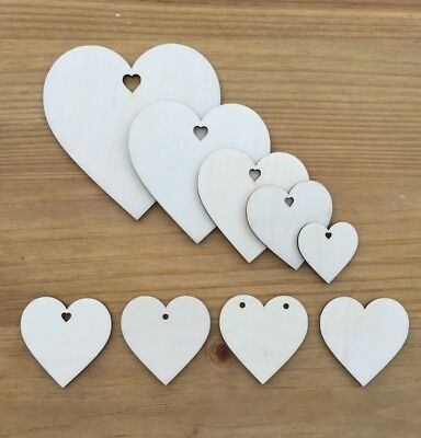 Wooden Heart Shapes Embellishments Craft Birch Wood Hole Tags Blanks Wedding