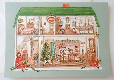 Unused Vtg Christmas Card Dollhouse Decorated for Christmas Red Farm Studio
