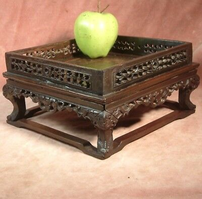 Antique Chinese Carved Rosewood Scholars Stand C1850
