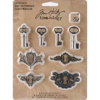 Idea-Ology Metal Locket Keys & Keyholes 8/Pkg Antique Nickel, Bra 040861928228