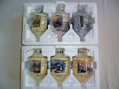 Lot of 6 Bradford Editions Thomas Kinkade  Glass Christmas Ornaments