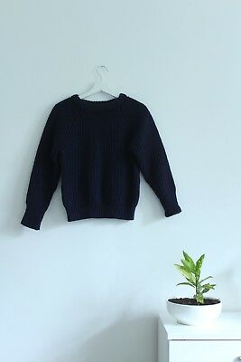 Thick Vintage Navy British Wool Knitted Fisherman's Jumper Size S/M