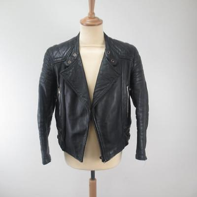 "Vintage Schott Men's Zipped Black Leather Motorcycle Jacket IS674MS - 36"" Chest"