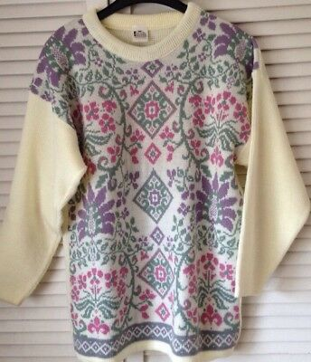 "Vintage Cream Pink Purple Floral Knitted Sweater Jumper Retro Oversize  21"" P2P"