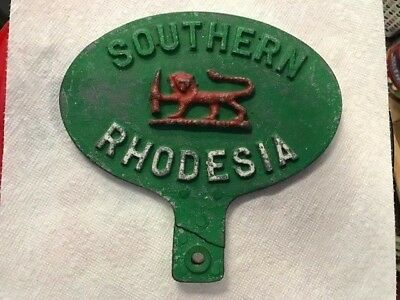 Southern Rhodesia License Plate Badge/Topper