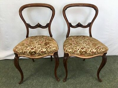 Pair of Victorian walnut balloon back chairs #1995L