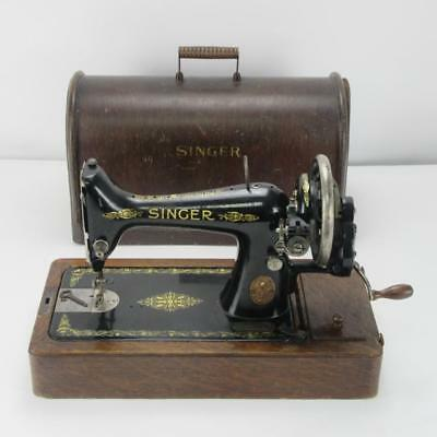 Ornate Antique Singer Sewing Machine, Hand-Cranked Mechanical, in Wooden Case