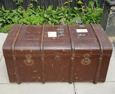 LARGE Antique / Victorian Wooden Trunk - London history - 40 x 20 x 22in - HERTS