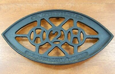 Vintage Antique Humphrey Gas Iron General Specialty Cast Sad Trivet Advertising