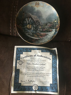 """Thomas Kincaid Bradford Exchange collector's plate """"July-Chandler's Cottage"""""""