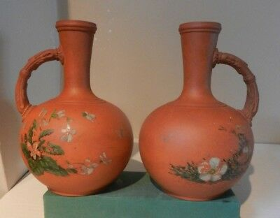 Victorian Watcombe Torquay Hand Painted Pair Of Flagons/bottles