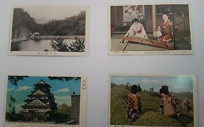 Japan vintage postcard Osaka Castle Tea picking girls Musicians Japanese maidens