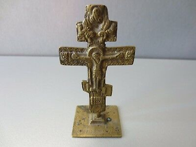 ORIGINAL ANCIENT BRONZE BREAD STAMP CROSS JESUS CHRIST 19 Century Natural patina
