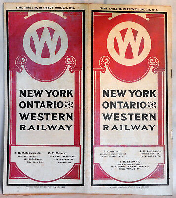 1913  NEW YORK ONTARIO & WESTERN RAILWAY  TIME TABLE exceptional condition