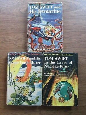 Lot of 3 vintage TOM SWIFT childrens books HBDJ Caves of Nuclear Fire 1st ed?
