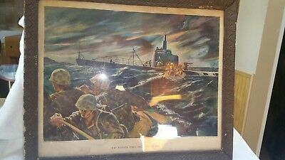 Electric boat company print 1944 21x17 in frame