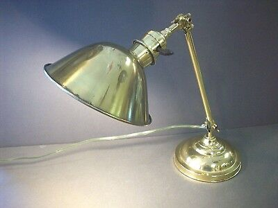 Antique Vintage Brass Adjustable Electric Desk Lamp Brass Shade Double Joint