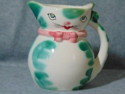 """Vintage Kitty Cat Pitcher/Creamer Pink Bow/Green Dots, Japan, 4"""" Tall"""