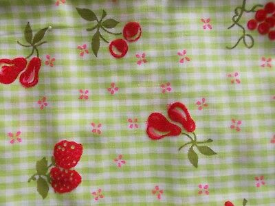 Vintage Green Gingham with Red Flocked Fruit Cotton Fabric 2 Yards