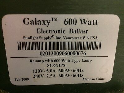 Galaxy 600 Watts Electronic Ballast For HPS Lamps , sunlight supply