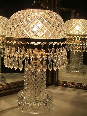Rare Genuine French  Solid Thick Cut Lead Crystal Chandelier Dome Table Lamp