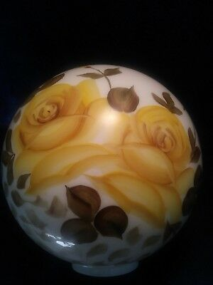 Signed Yellow Rose Oil Lamp Globe Glass 11 Inch Gone With The Wind GWTW