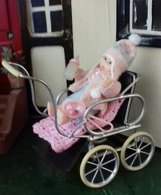 Dolls House Robson Pram/pushchair with artisan toddler doll.