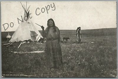 "Great Falls, Montana, Indian ""me Kill You Picture Man"" W.t. Ridgley Postcard"